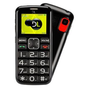 Celular Para Idosos DL Botão SOS Dual Chip Câmera VGA e Rádio FM Preto