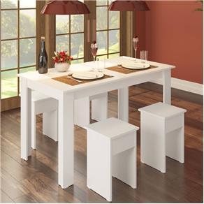 Conjunto Mesa com 4 Banquetas - Branco