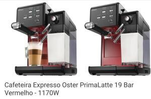 [C.C. Submarino + Ame] Cafeteira Expresso Oster PrimaLatte 19 Bar - Vermelha 110V