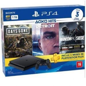 Console Sony PlayStation 4 Slim 1TB + 1 Controle + 3 Jogos Preto