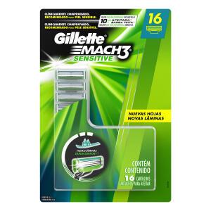Carga Gillette Mach3 Sensitive com 16 Unidades - R$ 62
