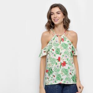 Blusa Lily Fashion Open Shoulder Babado Floral R$27