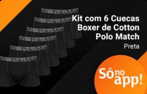 Kit com 6 Cuecas Boxer Cotton - Polo Match