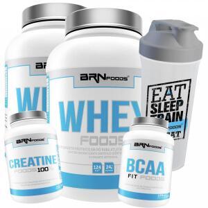 Kit 2x Whey Protein BRN Foods - Baunilha - 900g - 2 Unid + BCAA + Creatina + Coqueteleira - R$100
