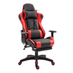 Cadeira de Escritório Presidente Reclinável Gamer Suíça Preta e Vermelho | R$639