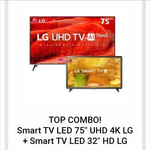 "Smart TV LED 75"" UHD 4K LG 75UM7510PSB + Smart TV LED 32"" HD LG 32LM625BPSB"