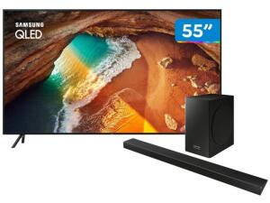 "Smart TV 4K QLED 55"" Samsung QN55Q60RAG Wi-Fi - HDR + Soundbar Samsung com Subwoofer 320W   R$3.499"