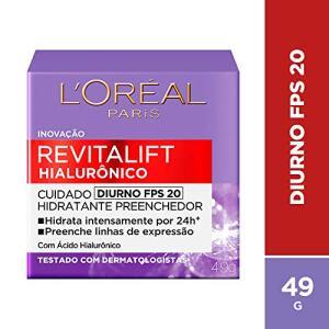 Creme Revitalift Hialurônico Diurno FPS 20, L'Oréal Parisl | R$35