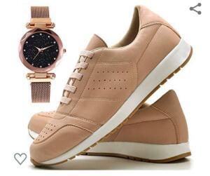 Tênis Sapato Casual Com Relógio Pulseira fechamento magnético Feminino