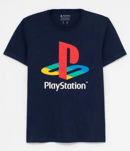 Camiseta Manga Curta Estampada Playstation