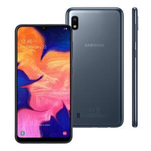 """Smartphone Samsung Galaxy A10 Preto 32GB, Tela Infinita de 6.2"""", Câmera Traseira 13MP, Dual Chip, Android 9.0"""