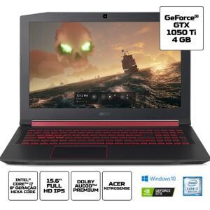 "Acer Nitro 5 AN515-52-75Q8 i7-8750H 8ª 16GB SSD 512GB 1050Ti Tela 15.6"" FHD | R$4.299"