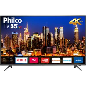 "[APP + AME] Smart TV LED 55"" Philco PTV55F61SNT Ultra HD 4K Conversor Digital Integrado 3 HDMI 2 USB Wi-Fi com Netflix - Titanium"