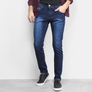 Calça Jeans Slim Grifle Estonada Masculina - Azul R$57
