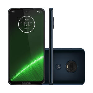 "Smartphone Motorola Moto G7 Plus 64GB Indigo 4G Tela 6.2"" Câmera 16MP Selfie 12MP Dual Chip Android 9.0 - R$879"