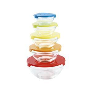 Jogo Com 5 Tigelas de Vidro com Tampa Plástica Colorida - Casambiente R$20