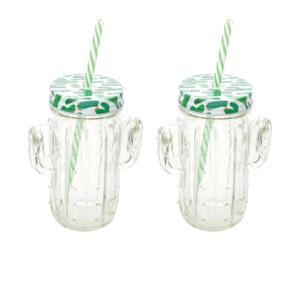 [APP + Clube da Lu] Jogo de Canecas de Suco de Vidro - Transparente e Verde com Tampa Lyor Cactos 2 Peças