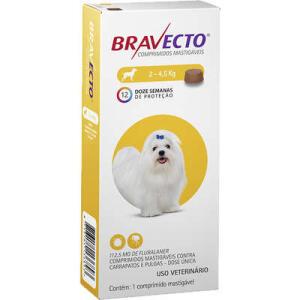 [R$111 p/ Assinantes] Bravecto Antipulgas e Carrapatos MSD - Cães de 2 a 4,5 Kg | R$123