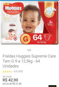 Fraldas Huggies Supreme Care Tam G 9 a 12,5kg-64 Unidades