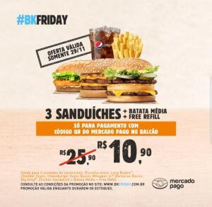 [Mercado Pago] 3 Sanduíches + Batata média + Free Refill