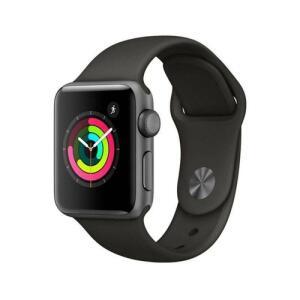 Apple Watch Series 3 GPS - 38 mm – Caixa cinza-espacial de alumínio com pulseira esportiva Preta - R$975