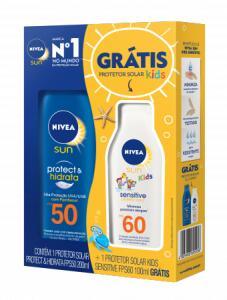 KIT PROTETOR SOLAR NIVEA SUN PROTECT & HIDRATA FPS50 + PROTETOR SOLAR NIVEA KIDS FPS60