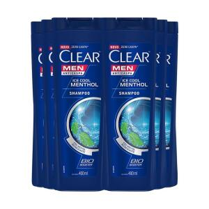 Shampoo Anticaspa Clear Ice Cool Menthol 400Ml - 6Un | R$ 52