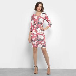 Vestido Lança Perfume Tubinho Curto Floral - Rosa Tam M