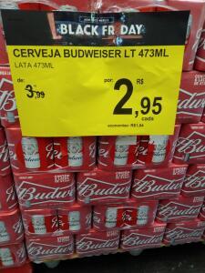 [Carrefour Bairro - BH] Cerveja Budweiser LT 473ML   R$3