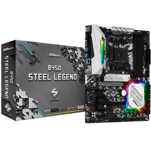 Placa Mãe AsRock B450 Steel Legend ATX AM4 DDR4 Quad CrossFireX SATA3 USB3.1 M.2 R$664