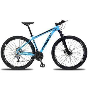 Bicicleta 27 Marchas Freio Hidráulico Dropp Aluminum Aro 29 Câmbio Traseiro Shimano Acera - Azul e Preto