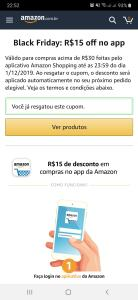 Cupom de R$15 no app Amazon