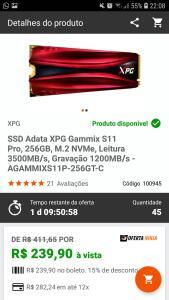 SSD Adata XPG Gammix S11 Pro, 256GB, M.2 NVMe, Leitura 3500MB/s, Gravação 1200MB/s - 240 à vista no boleto