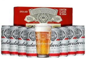 Kit Cerveja Budweiser American Standard Lager - 269ml Cada 8 Unidades com 1 Copo Kit Black Friday