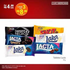 [AMERICANAS - LOJA FÍSICA] 3 tabletes Lacta por R$ 8.99