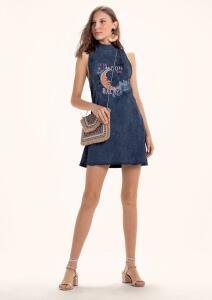 Vestido Em Malha Estonada Com Estampa - Azul R$52