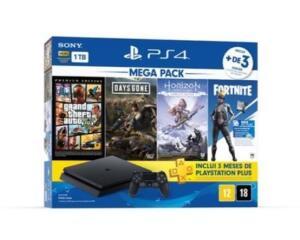 PlayStation 4 1TB Mega Pack Hits Bundle 6.0 + Controle DualShock + 3 meses PSPlus