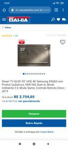 "Smart TV QLED 55"" UHD 4K Samsung 55Q60"