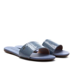 Rasteira Couro Jorge Bischoff Flat - Azul Claro R$80