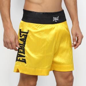 Shorts De Muay Thai/Boxe Everlast C/ Bordado Assinatura - Amarelo e Preto