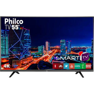 "Smart TV LED 55"" Philco PTV55U21DSWNT UHD 4K - Conversor Digital 3 HDMI 2 USB"