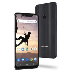 "Smartphone Multilaser MS80X 4G Android 8.1 Qualcomm 4GB RAM e 64GB Tela FullHD 6,2"" Câm Traseira 12MP+5MP Cam Frontal 16MP Preto - NB743"