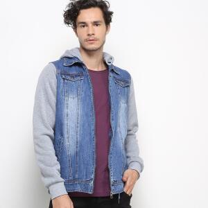 Jaqueta Jeans Kappa Masculina - Azul e Cinza | R$90