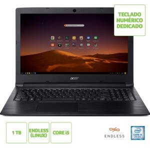 "[R$1.421 AME+CC Shoptime] Notebook Acer Aspire A315-53-5100 Intel Core I5 4GB 1TB 15,6"" Linux | R$1.672"