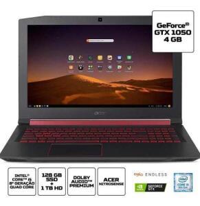 (AME R$ 2836) Notebook Gamer Acer i5-8300H 8 GB RAM GTX 1050 GB SSD 128 GB
