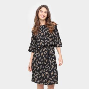 Vestido Facinelli Evasê Midi Blusê Ombro a Ombro - Preto R$48