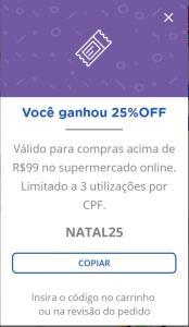 25% de desconto compras acima de R$50 no Mercado Online Carrefour