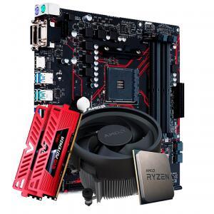 NOVO - Kit Upgrade Placa Mãe Asus Prime B450M Gaming/BR AMD AM4 + Processador AMD Ryzen 5 3500 3.6GHz + Memória DDR4 16GB (2X8GB) 3000MHz