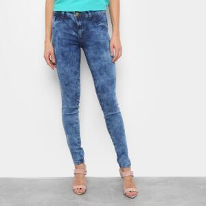 Calça Jeans Grifle Skinny Marmorizada Feminina - Azul R$59