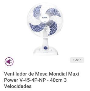 (App)(Frete grátis retirar na loja)Ventilador de Mesa Mondial Maxi Power V-45-4P-NP-40cm 3 Velocidades